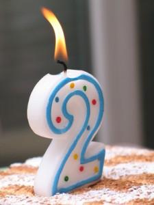 bougie d'anniversaire de 2 ans